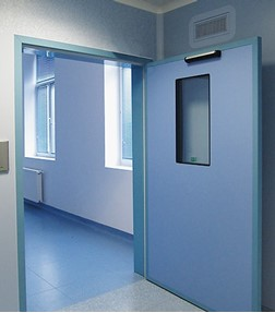 Swing doors for hospitals and sterile environments